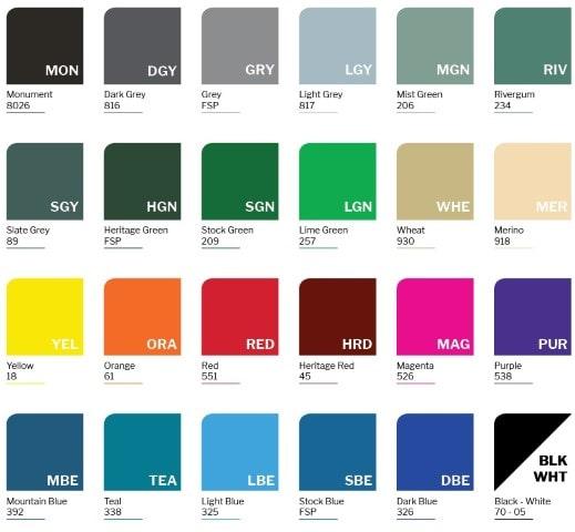 School Locker - 25 colour chart